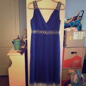 Maggie London royal blue shimmer dress